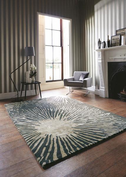moderer teppich in Kaminzimmer