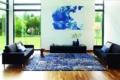 Jab Teppich blau mit Muster in modernem Wohnraum