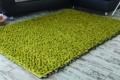 grüner Teppich handweb vor Sofa