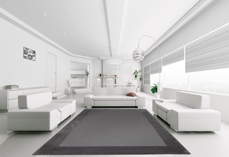 Teppich mit weißen Sofas