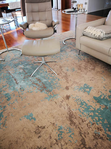 Vintage Teppich blau beige