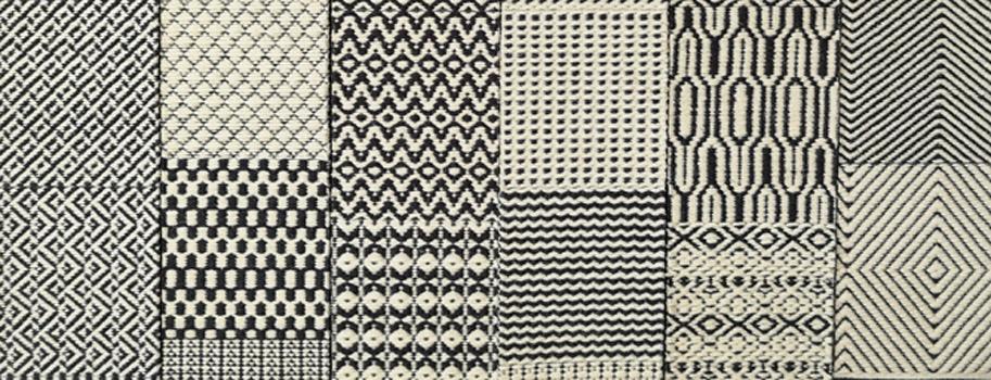 diverse Teppichmuster in schwarz weiß unterer Teil