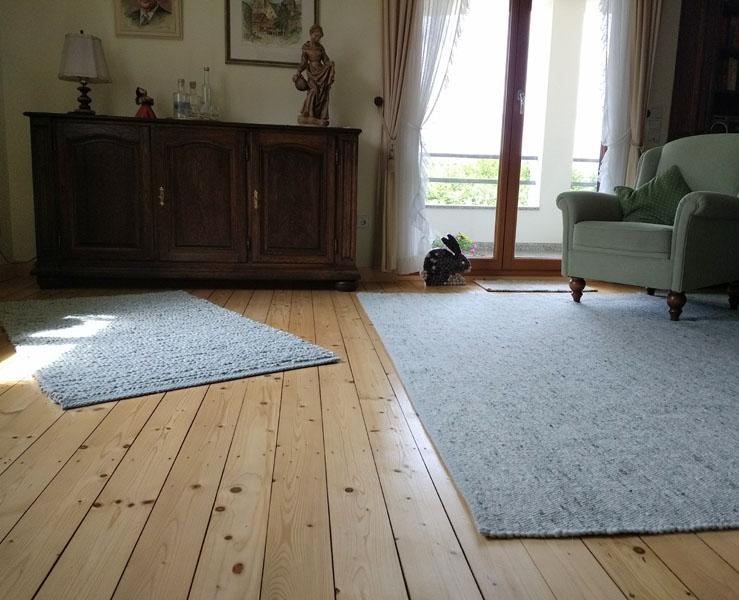 Teppich grau beige von Tisca im Wohnraum
